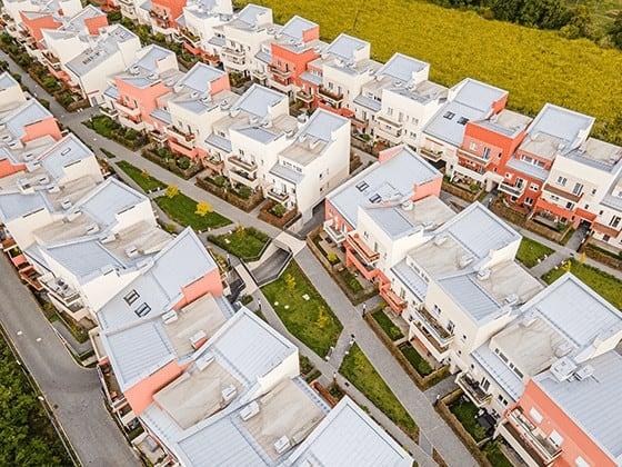 Osiedle mieszkaniowe, zdjęcie z drona